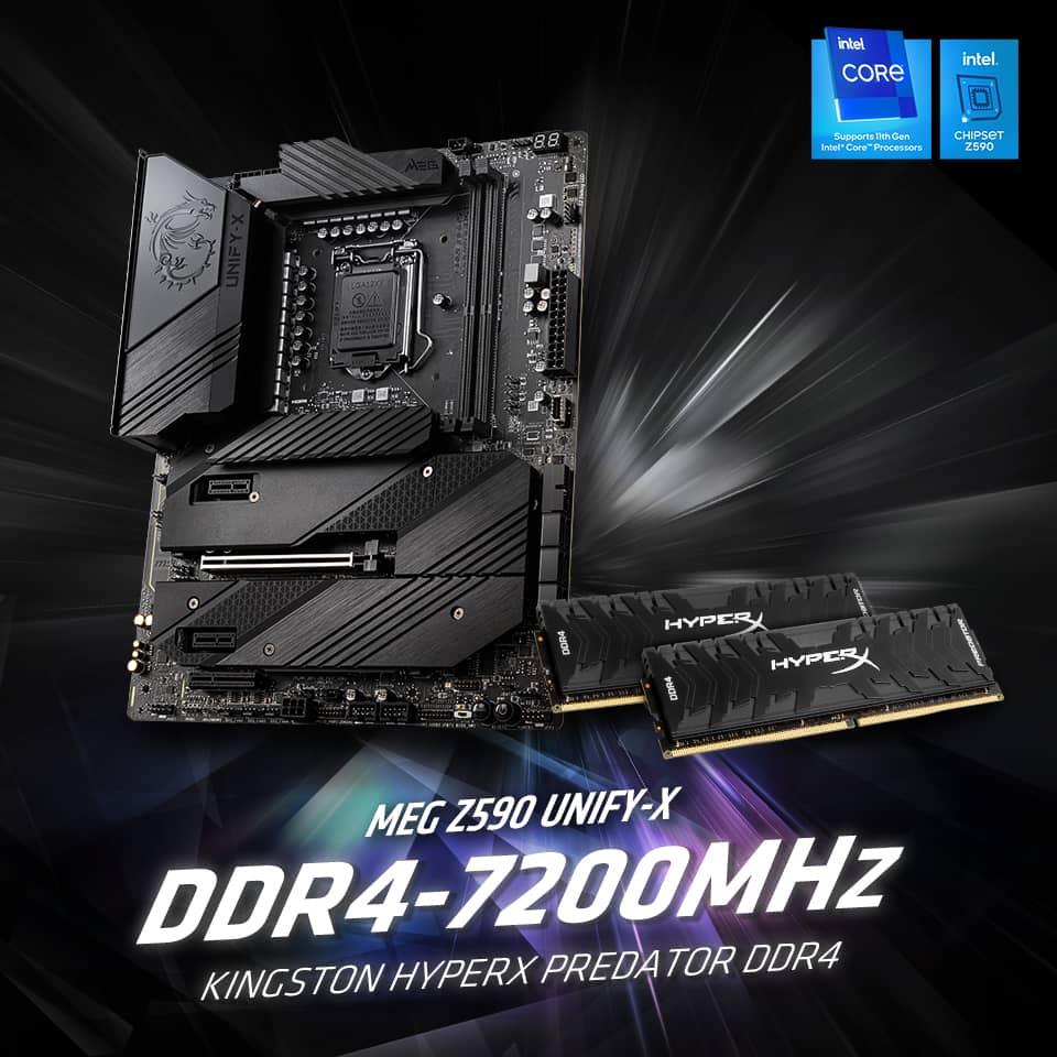Материнская плата MSI MEG Z590 Unify-X бьет быстрый мировой рекорд частоты DDR4 7200 МГц по волдырям